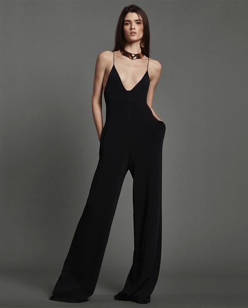 445d74f344f9 Collection Apparel Knit V-Neck Wide-Leg Jumpsuit 1