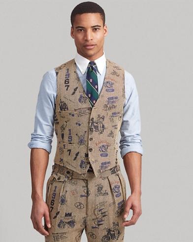 Polo Herringbone Graphic Vest