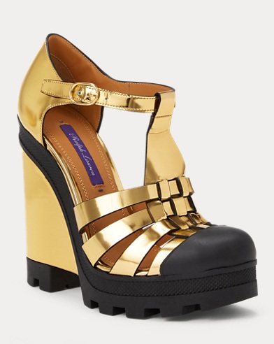 Mayah Lug-Sole T-Strap Wedge