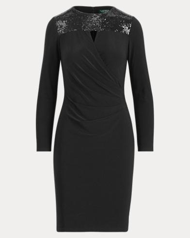Sequined-Yoke Jersey Dress