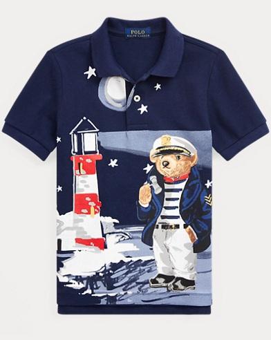 Nautical Bear Cotton Mesh Polo