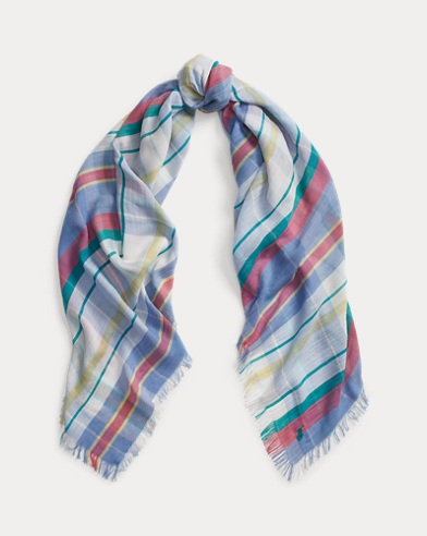 Fringe Plaid Oblong Scarf