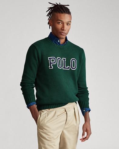 Baumwollpullover Polo mit Rundhalsausschnitt