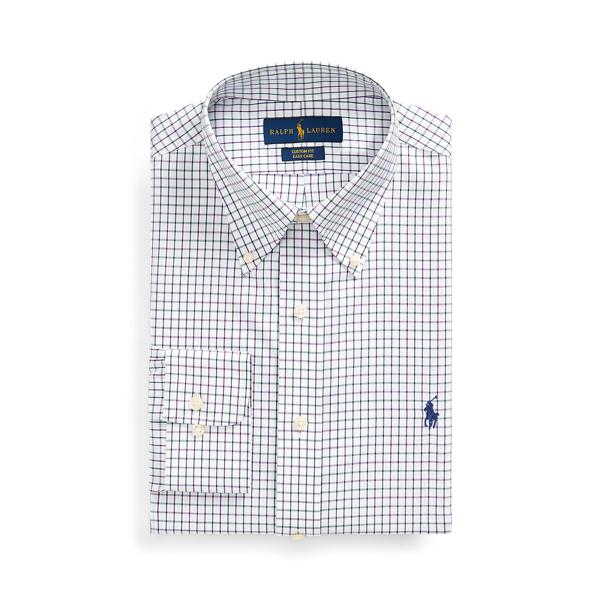 폴로 랄프로렌 셔츠 Polo Ralph Lauren Custom Fit Tattersall Shirt,Purple/White Multi
