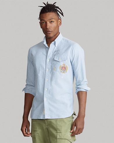 Custom Fit Crest-Print Shirt