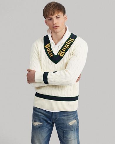 Cricket-Pullover in Rugby-Optik
