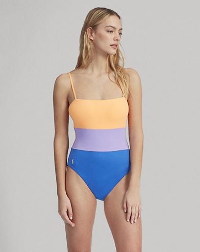 Color-Block Lace-Up-Back Suit