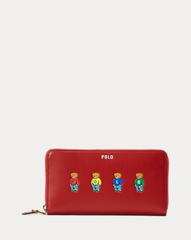 Polo Bear Leather Zip Wallet