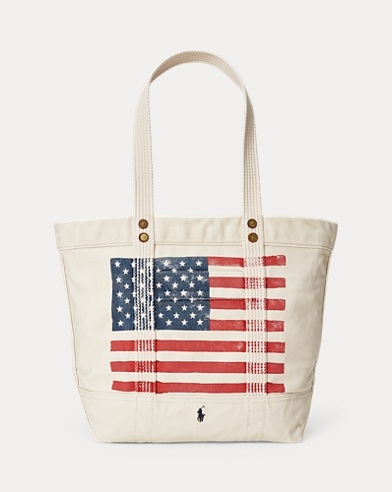 Distressed Flag Canvas Tote
