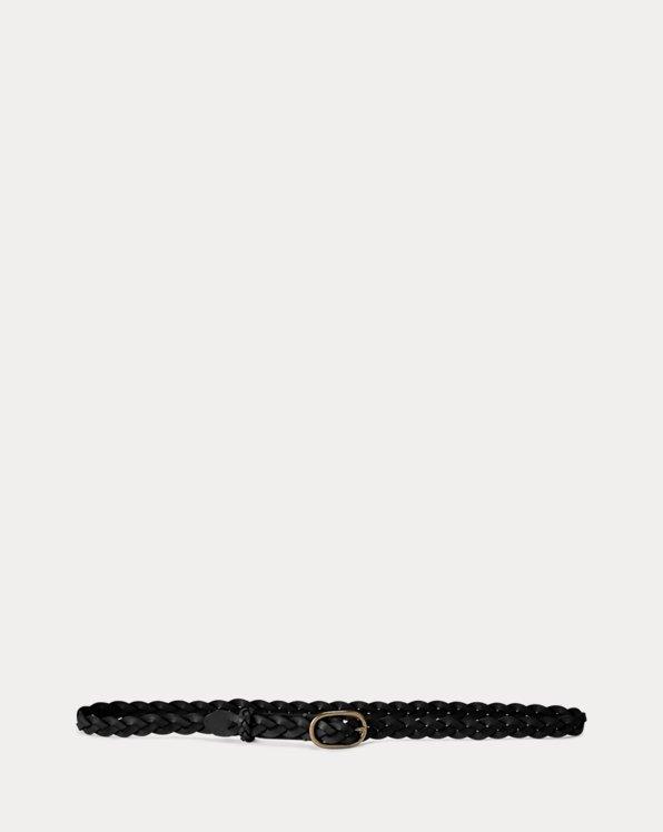 Braided Leather Skinny Belt