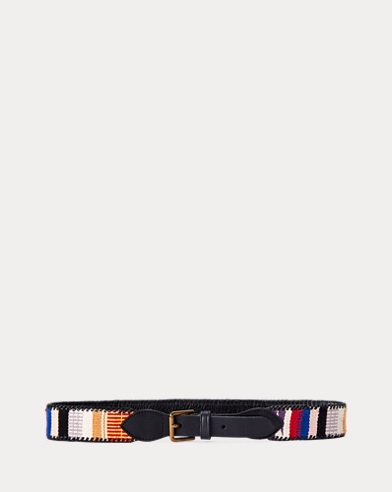 Jacquard-Knit Leather Belt