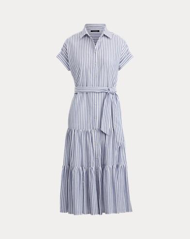 Vestido camisero escalonado de algodón
