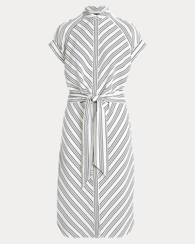 Striped Crepe Shirtdress