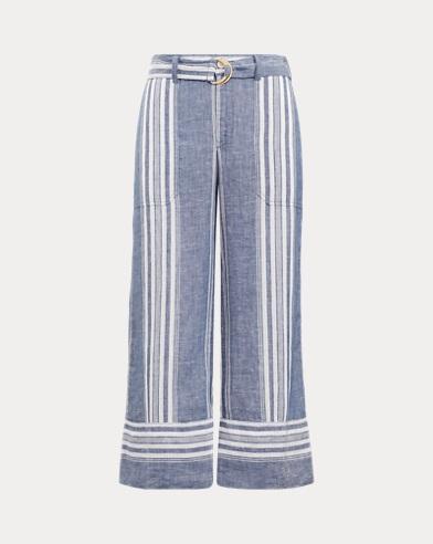Striped Linen Wide-Leg Pant