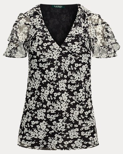 Ruffled Floral Georgette Top