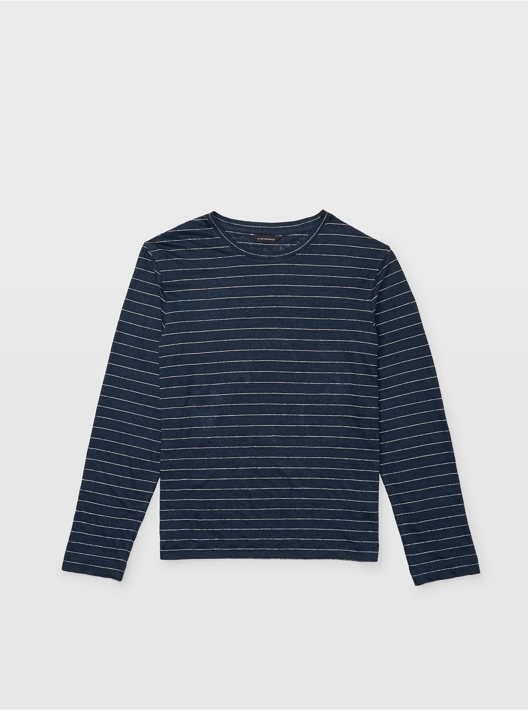 Long-Sleeve Linen Stripe Crew