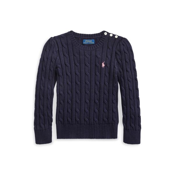 폴로 랄프로렌 여아용 꽈배기 니트 코튼 스웨터 Polo Ralph Lauren Cable Knit Cotton Sweater,RL Navy