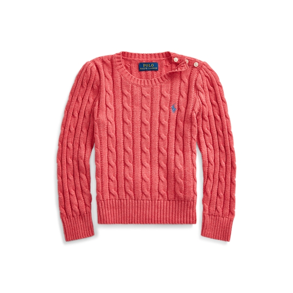 폴로 랄프로렌 여아용 꽈배기 니트 스웨터 Polo Ralph Lauren Cable-Knit Cotton Sweater,Geranium Heather
