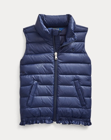 Quilted Ruffle-Hem Down Gilet