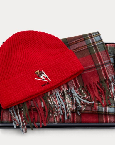 Bear Hat & Plaid Scarf Set