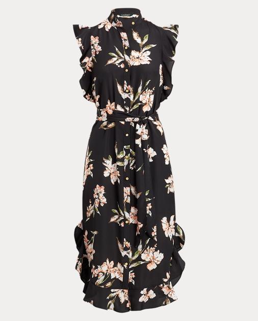 Ruffled Hem Crepe Dress by Ralph Lauren