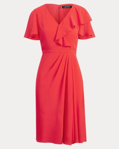 Ruffle-Trim Georgette Dress