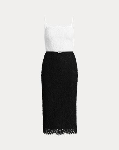 Color-Blocked Lace Dress