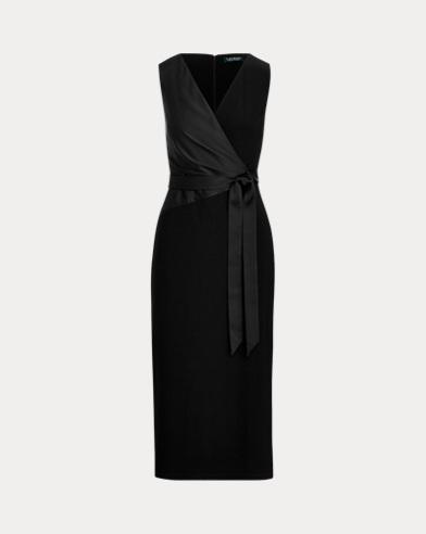 Satin-Sash Midi Dress