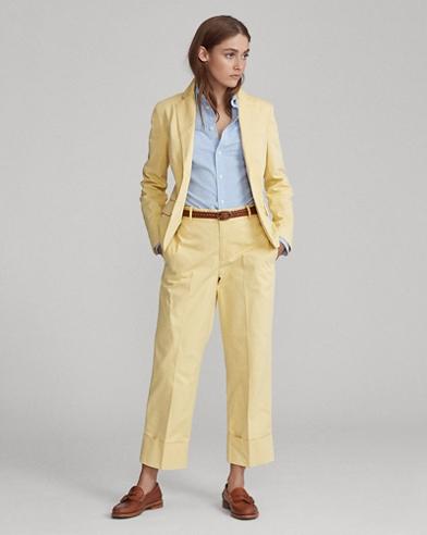 Straight Cotton Twill Pant
