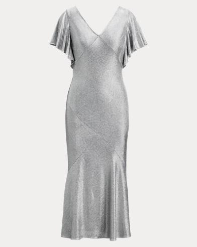 Shimmer Flutter-Sleeve Dress