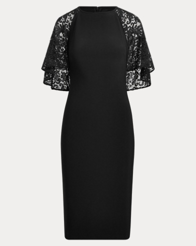 Cape-Overlay Lace Dress