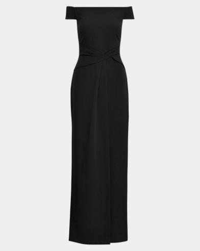 Crepe Cap-Sleeve Gown