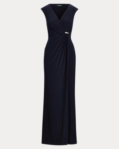 Rhinestone-Pin Jersey Gown