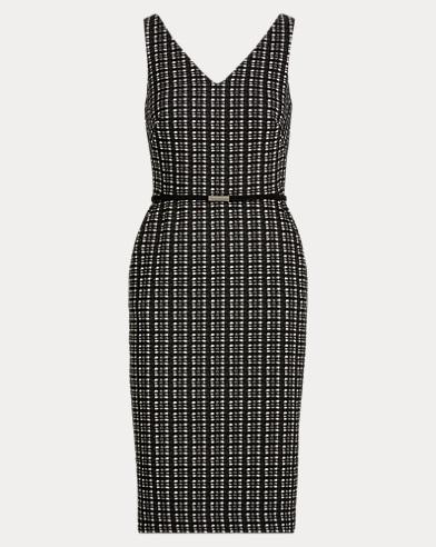 Belted Plaid Jacquard Dress