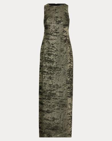 Metallic Crepe Gown