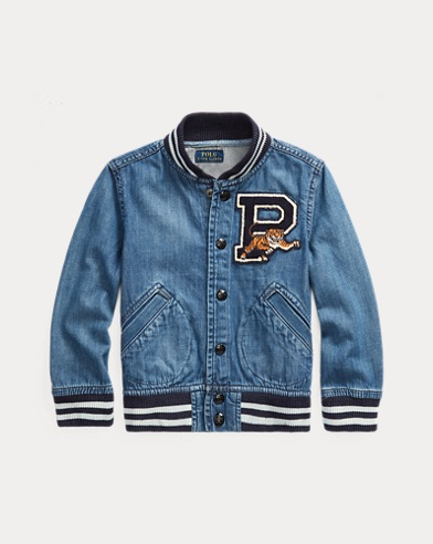 6c8d8a33a66e7 Cotton Denim Baseball Jacket. Boys ...