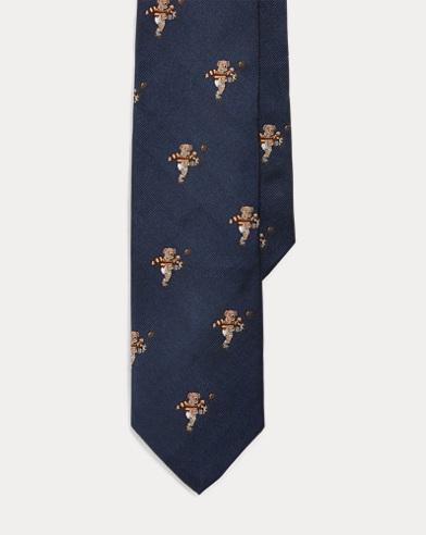 Rugby Bear Silk Narrow Tie