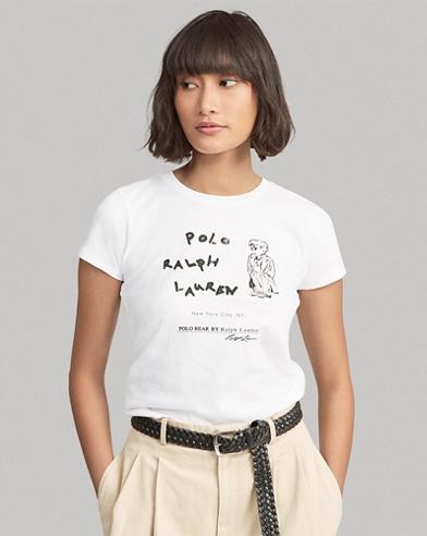 Jersey-T-Shirt mit Polo Bear