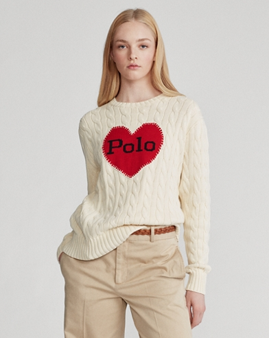 Polo-Heart Cable-Knit Sweater