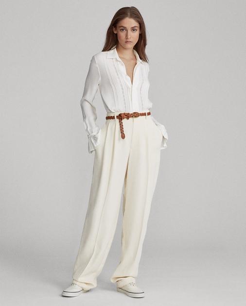 e703d62a1 Polo Ralph Lauren Inset-Lace Silk Shirt 1