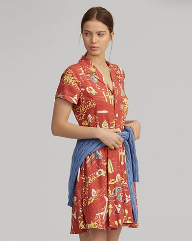 bf1e77ebb36 Tropical Fit-and-Flare Dress