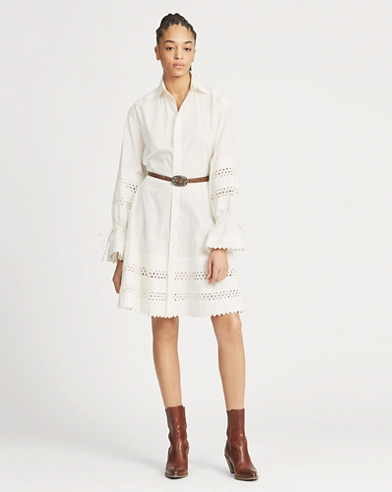 Lace-Trim Broadcloth Dress