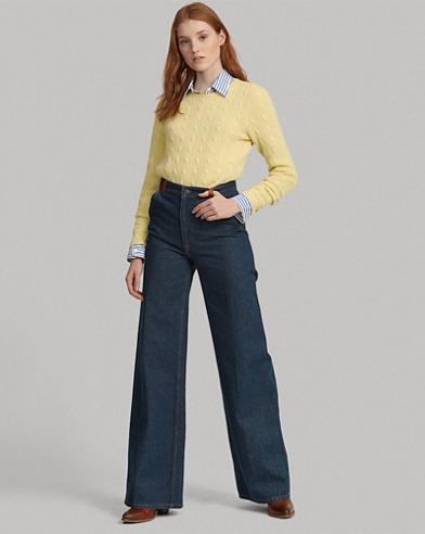 Leather-Trim Wide-Leg Jean