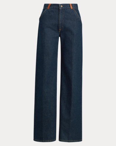 Leather-Trim Wide-Leg Jean