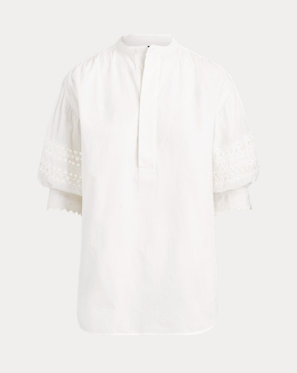 Lace-Trim Broadcloth Shirt