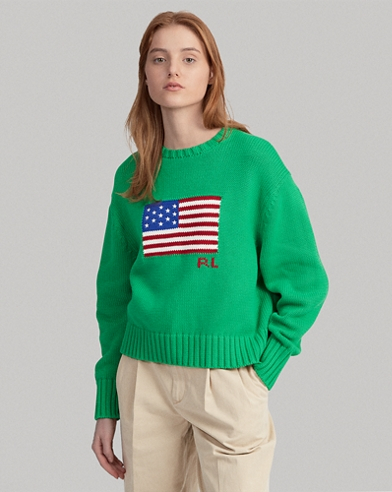 Boxy Flag Crewneck Sweater