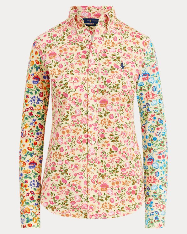 Floral-Print Knit Oxford Shirt