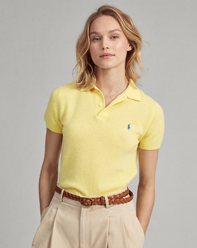 Ribbed-Hem Cashmere Polo Shirt