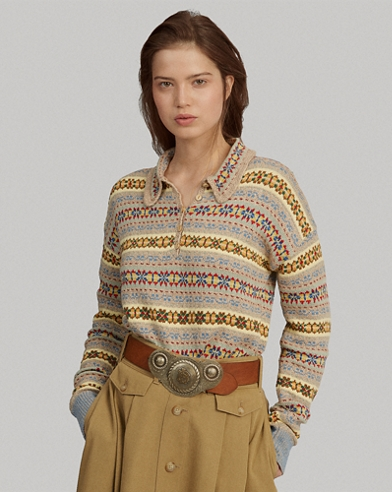 Fair Isle Long-Sleeve Polo