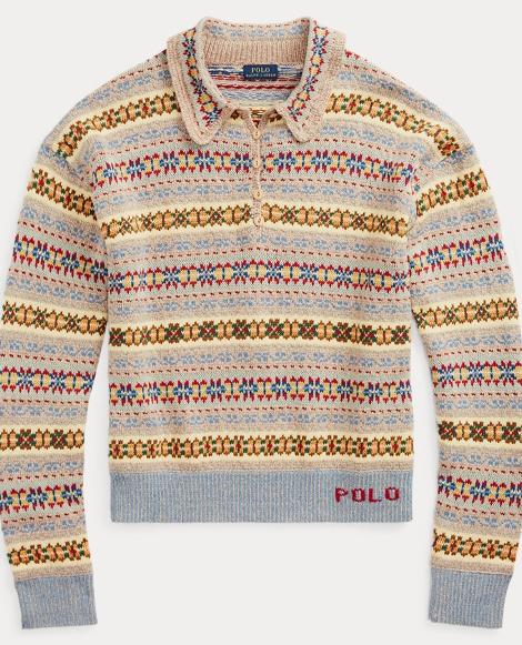 Fair Isle Long-Sleeve Polo
